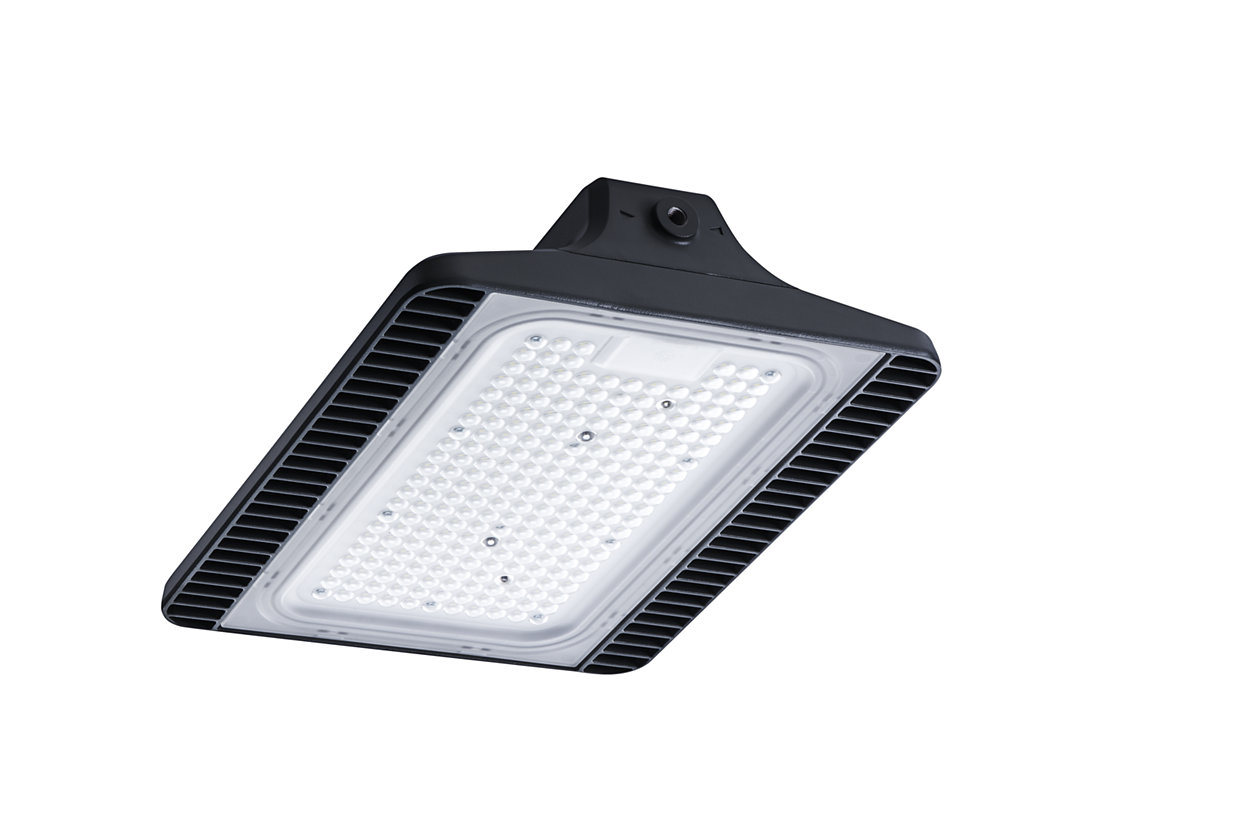 Rectangular LED highbay with elegant industrial design, optimised optical performance and long-term reliability.