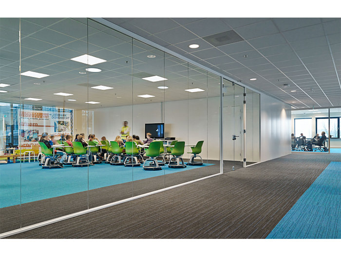 CoreLine panel in use in a meeting room and corridor