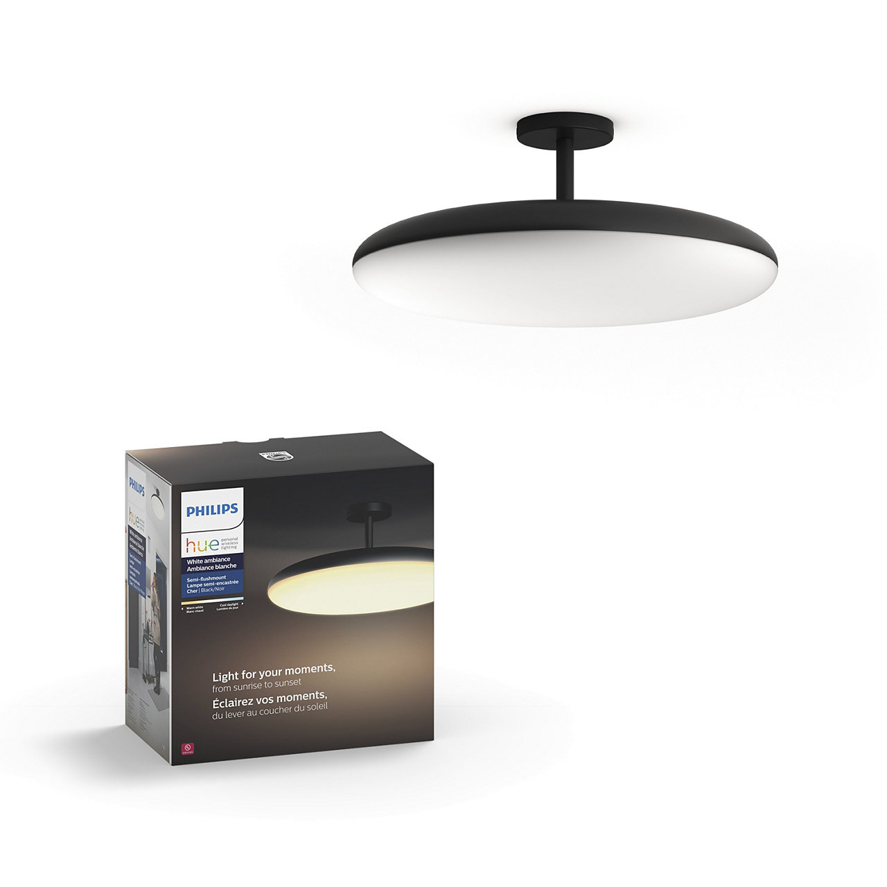 Hue White Ambiance Cher Dimmable LED Smart Semi-Flushmount Light