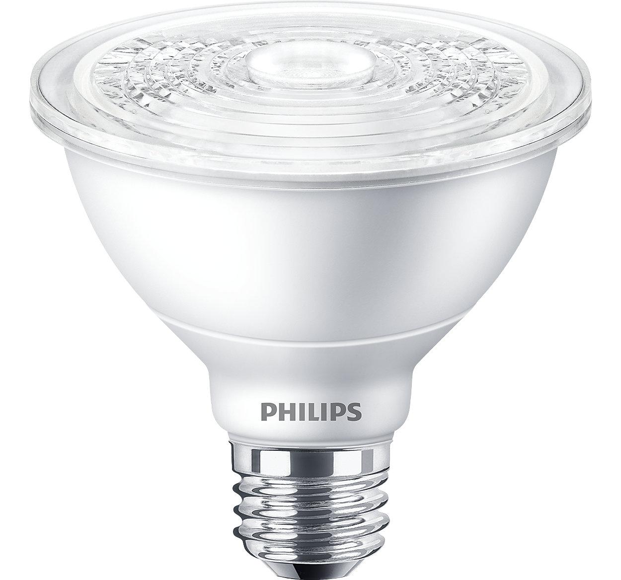 Todo lo que le gusta de un PAR30 halógeno con las ventajas de los LED. Haga que su mercancía o espacio se destaque sin ninguna distracción.