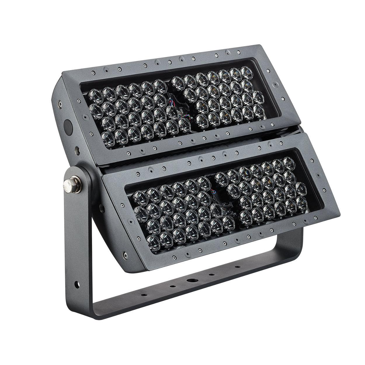 Exterior long-throw floodlight with intelligent RGB light