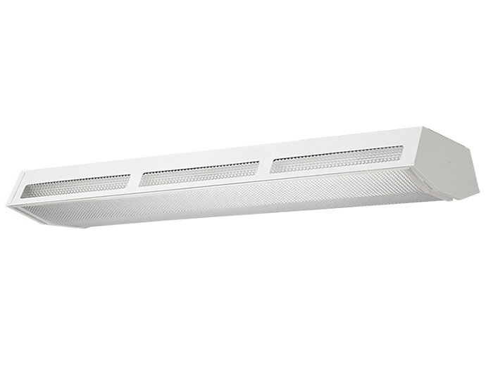 Aesthetic lensed fluorescent High-Bay with up-light available with 7 lamps T5 or T8.