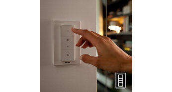 Easy and wireless control with the dimmer switch (included)