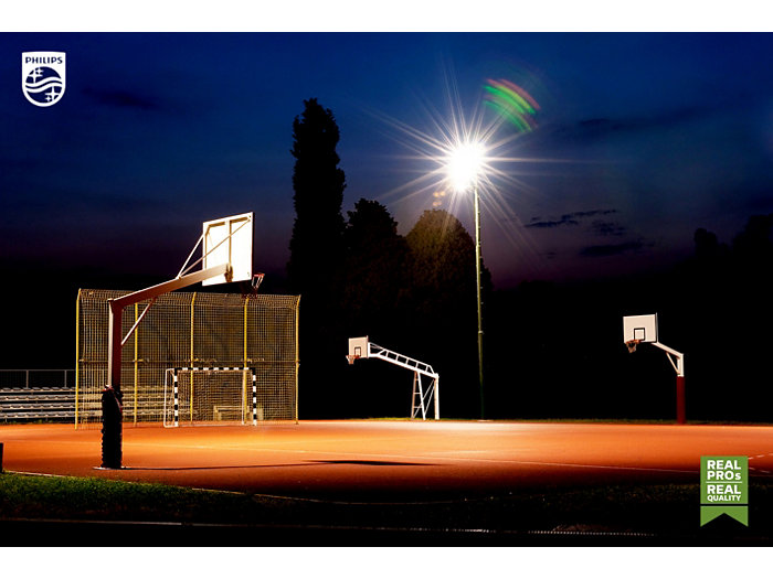 Basketball court at night