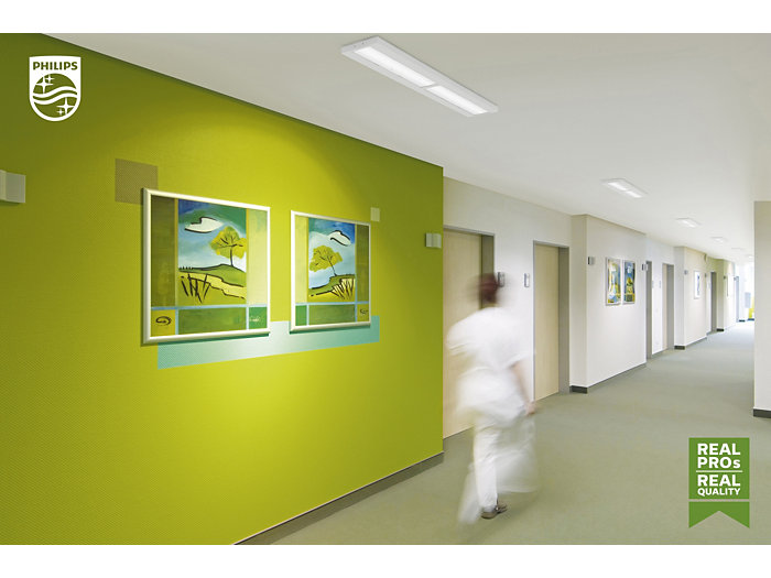 Green corridor in a hospital