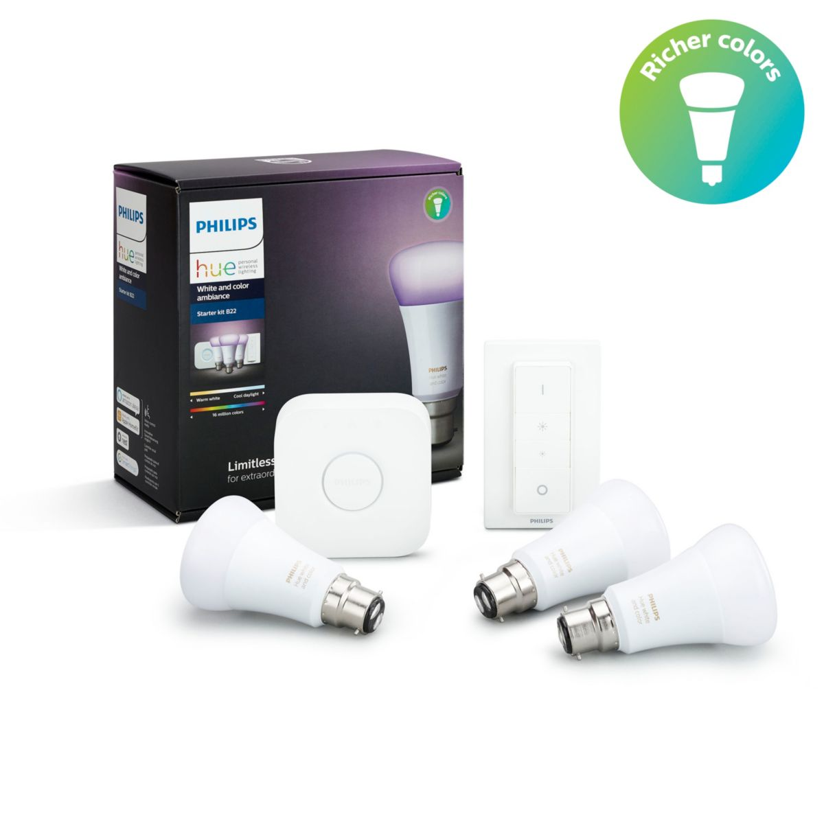 Bridge /& Dimmschalter Starter Set GU10 Philips Hue White /& Color Ambiance