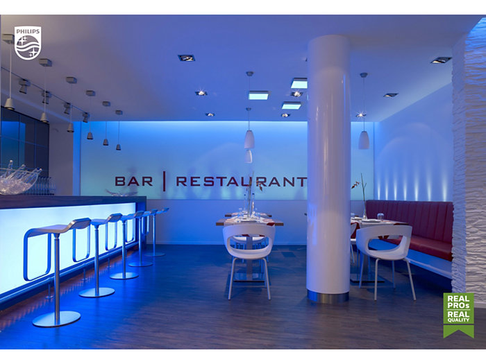 Blue bar restaurant with furniture