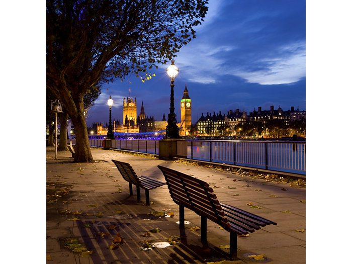 Application picture of TrueForce post-top urban lighting at night outside in London with the Big Ben and Buckingham Palace on the background. In front the Themes large trees and two benches.