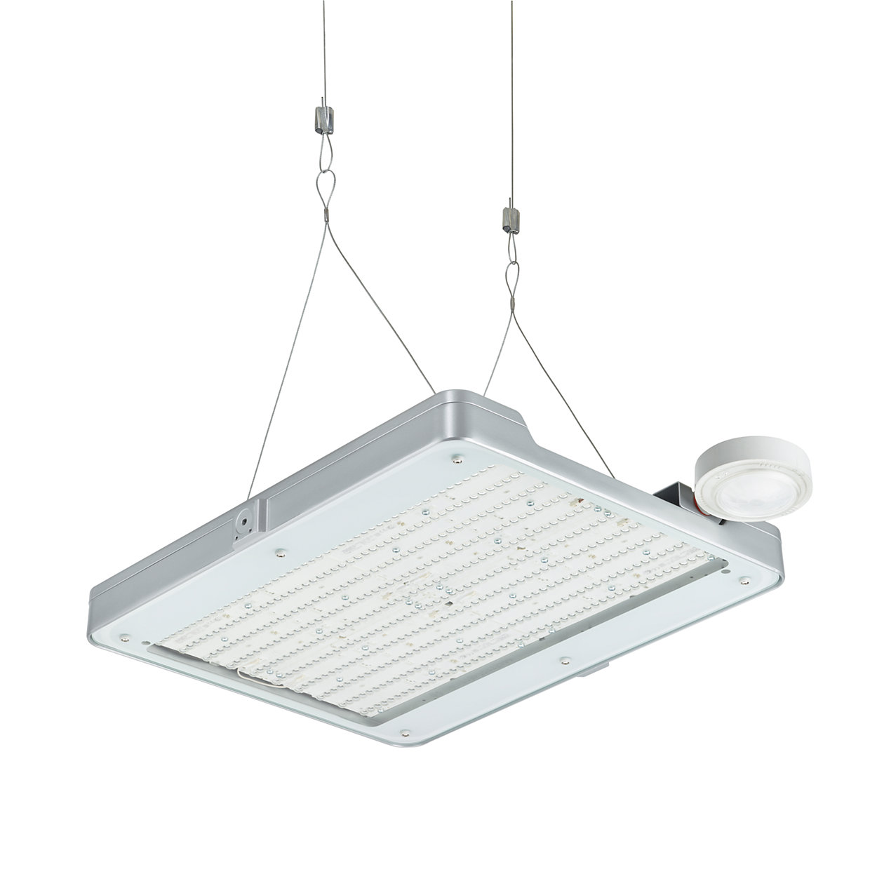 Adaptable high-bay lighting offering high efficiency and connectivity options to lighting systems and software applications.