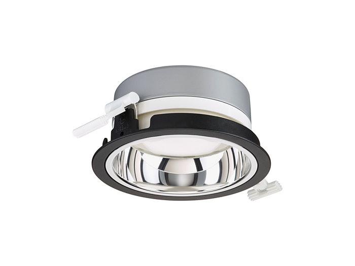 LuxSpace Mini recessed DN560B downlight med högglanspolerad optik, svart utförande