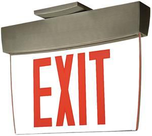 Architectural Edge Lit  LED Exit, Self-Powered, Nickel Housing, Red Letters w/Mirror Background, 8