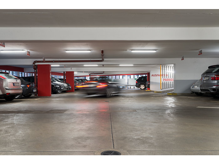 CoreLine waterproof in use in a parking garage