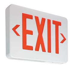 Value+ Economy Grade Thermoplastic Exit, Red Letters, Emergency Lead Calcium Battery, 22W Remote, White Housing