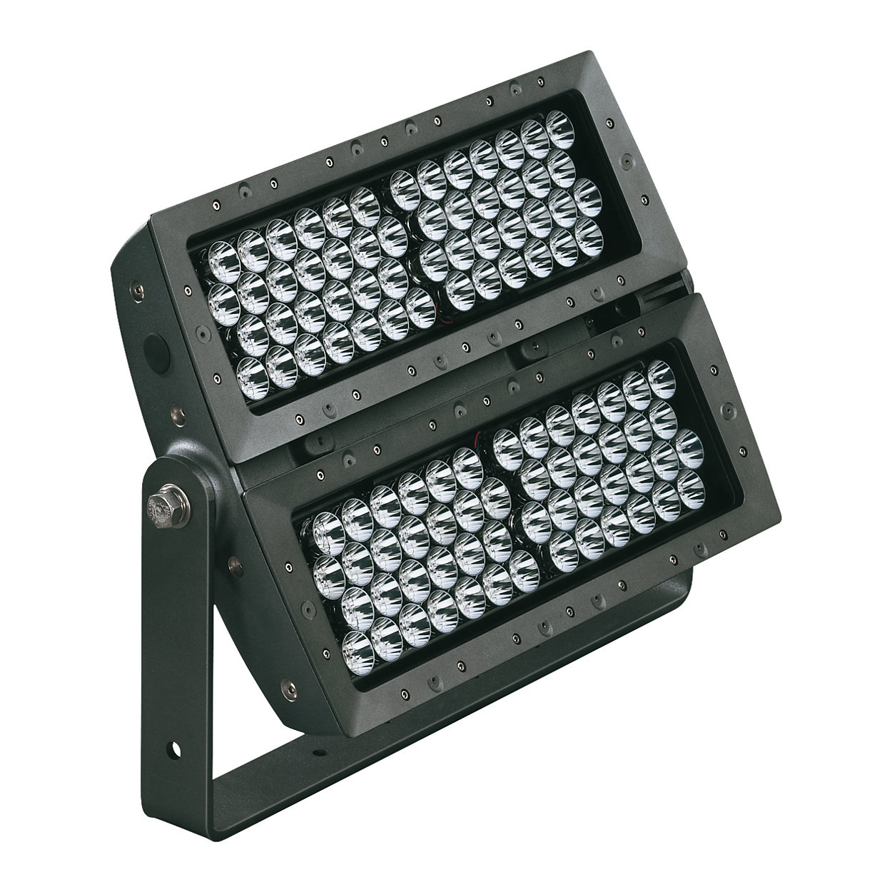 Exterior long-throw floodlight with tunable white light