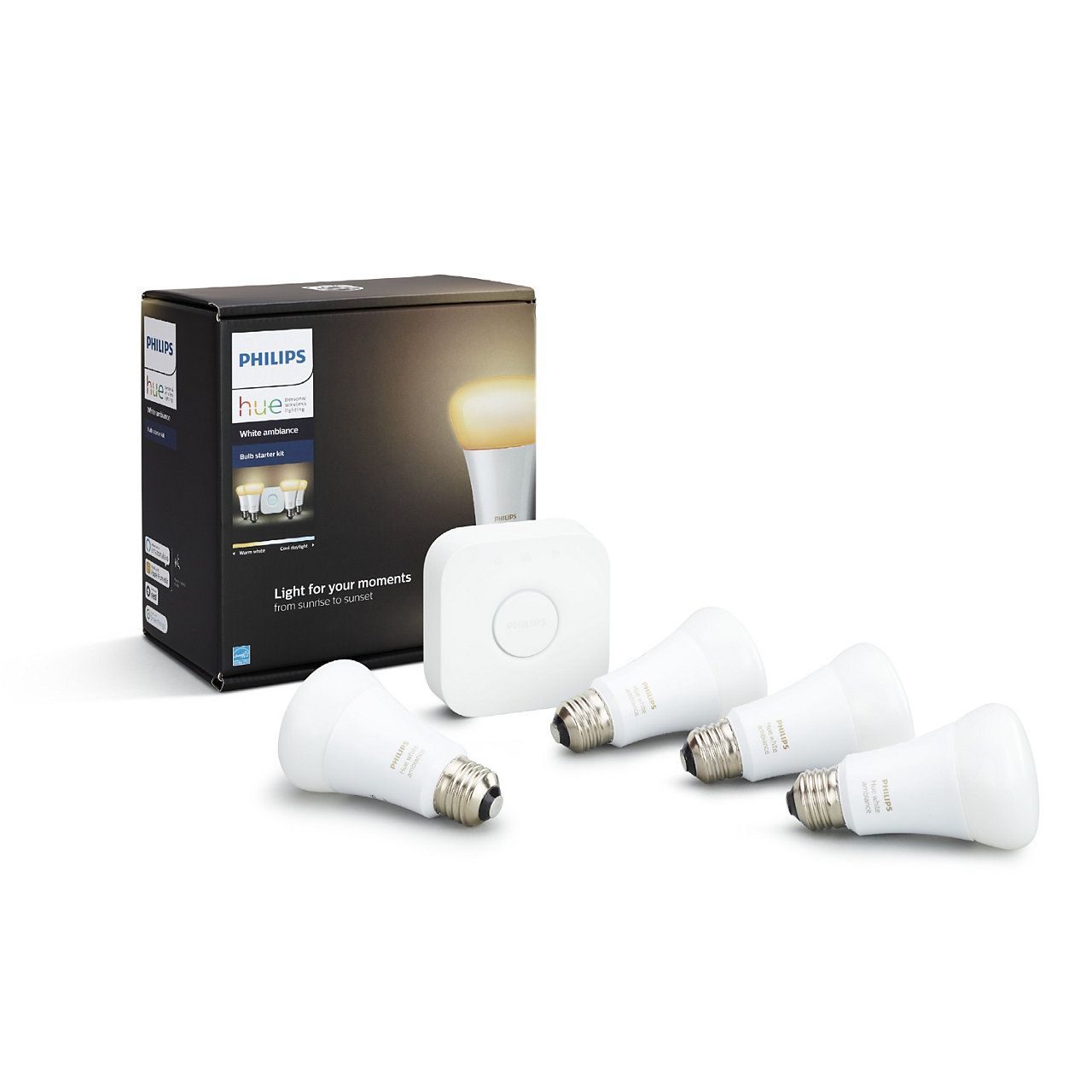 Hue White Ambiance A19 LED Starter Kit (4 Bulbs)