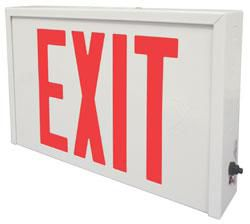 Die Formed Steel LED Exit, Nicad Battery, Single Face, Red Letters, White Housing