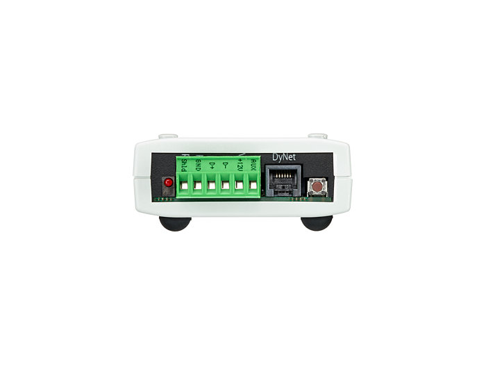 RS-485 DyNet serial port and AUX programmable dry contact input on the DIR-TX8
