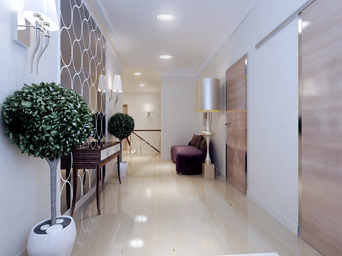 CoreLine SlimDownlight in use in a luxuary corridor
