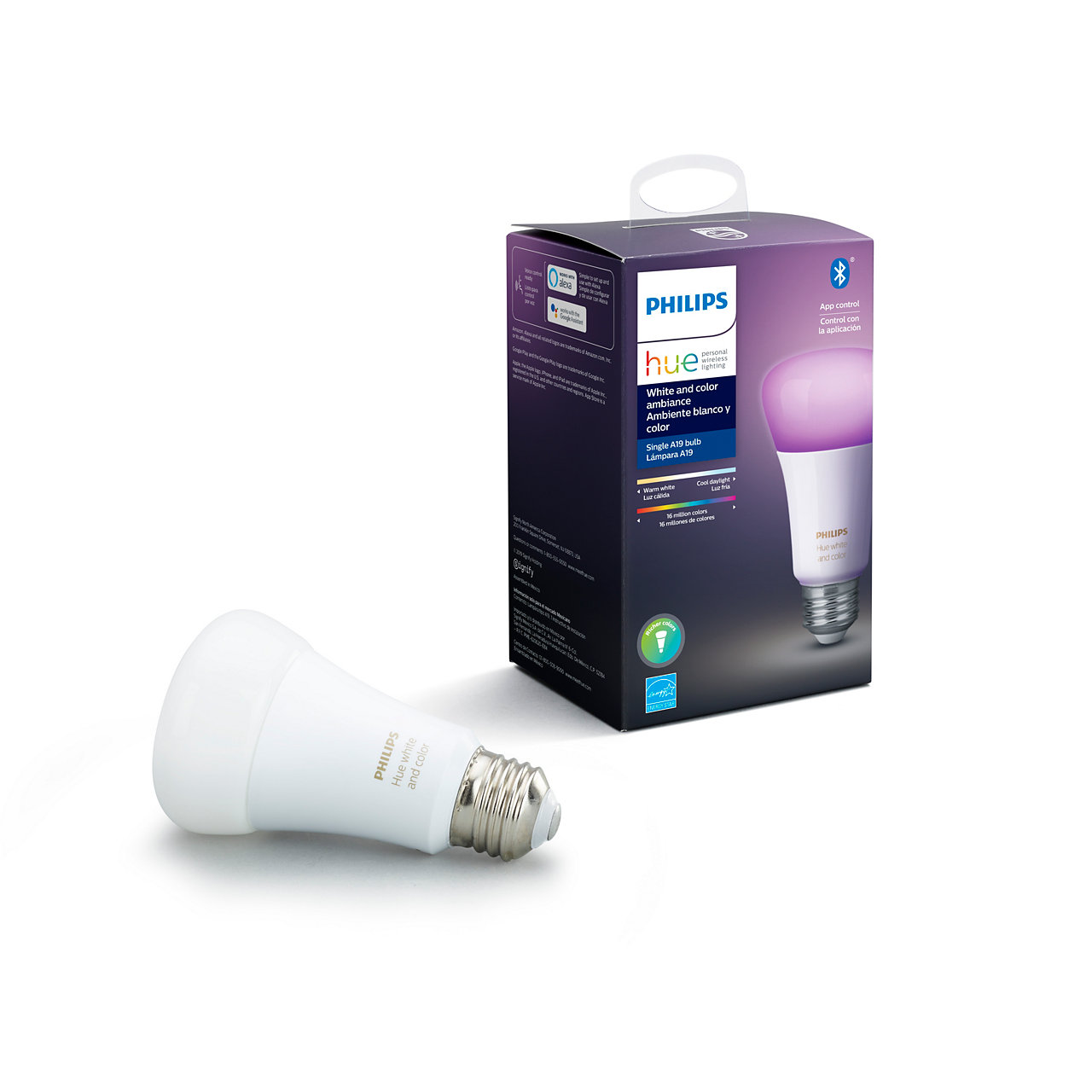 Hue White and Color Ambiance A19 Smart LED Bulb
