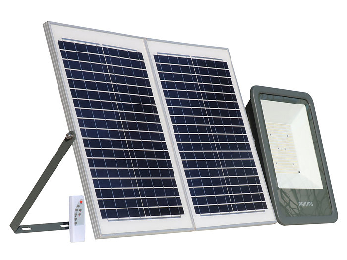 Smart Bright Solar Flood light 4800 lm side view