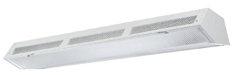 Aesthetic lensed fluorescent High-Bay with up-light available with 3 lamps T5 or T8.