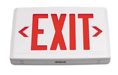 Compac Termoplastic LED Exit,  Universal Face, White Housing, Red Letters