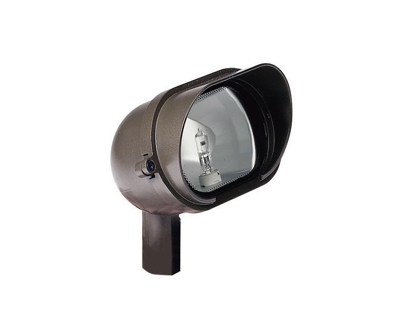 Floodlight, Aluminum w/ Frosted Shroud & Stake, w/ Lamp, Bronze, 20W T3, 12V