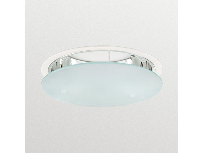 LuxSpace DN570B recessed downlight with high-gloss optic and pendant glass, opal
