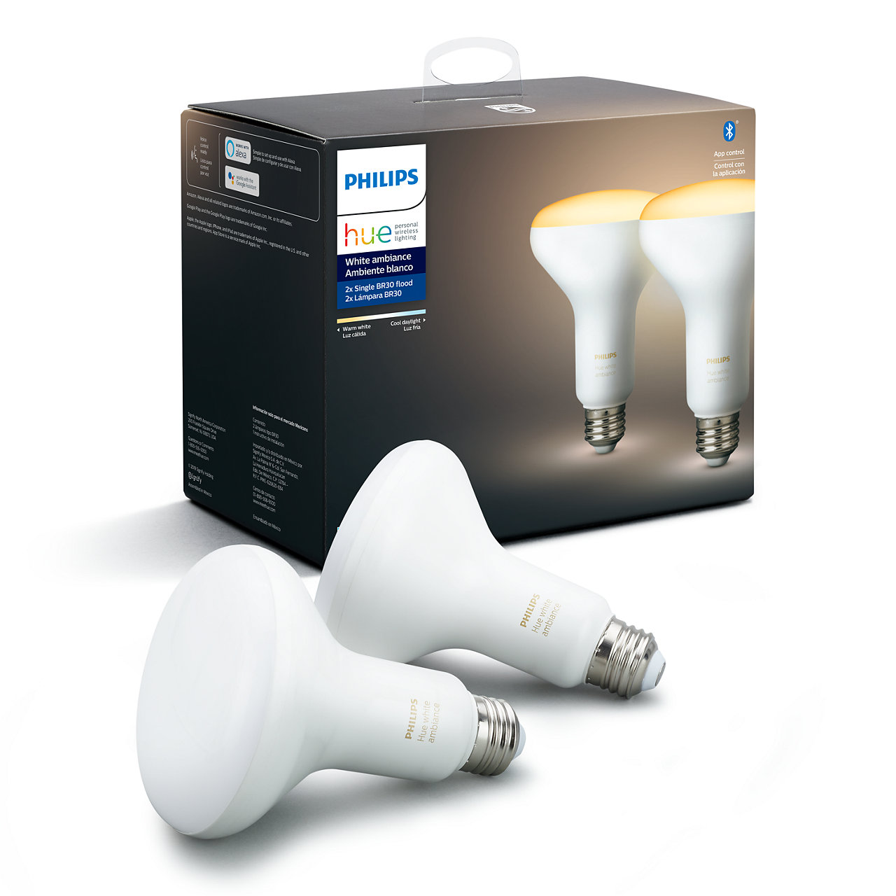 Hue White Ambiance Dimmable BR30 Wi-Fi Smart LED Floodlight Bulb (2-Pack)