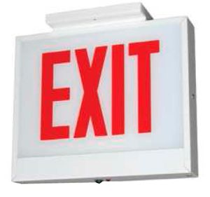 Chicago Approved, Steel LED Exit Sign, Emergency, Aluminum Housing, Double Face, Red Letters