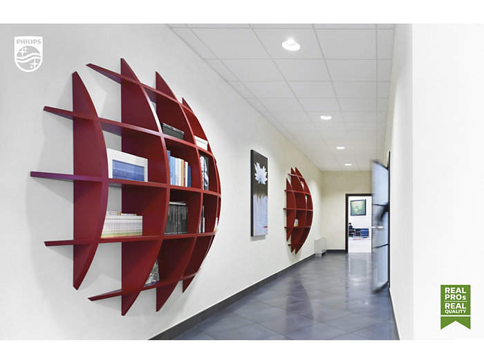 Hallways with red bookshelfs