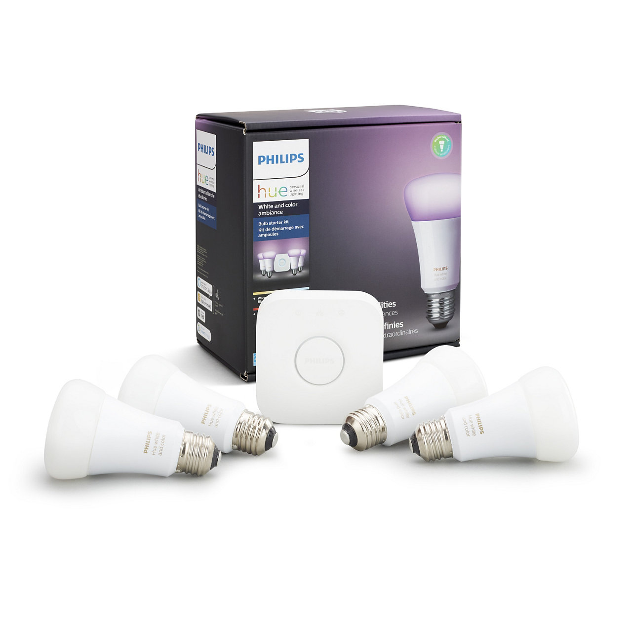 Hue White and Color Ambiance A19 LED Starter Kit