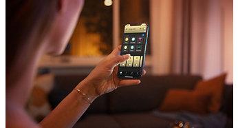 透過 Bluetooth 應用程式,最多可控制 10 盞燈具