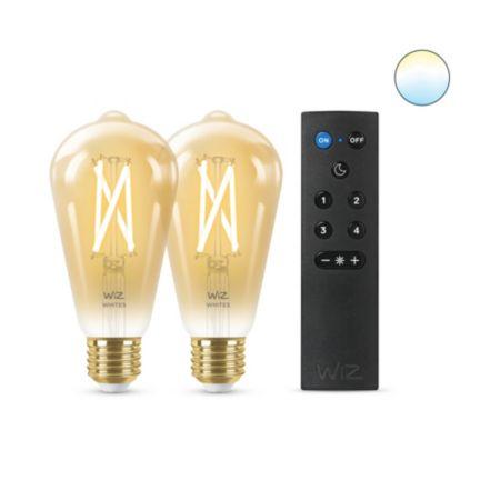 Filament amber ST64 E27 x2 + WiZmote x1